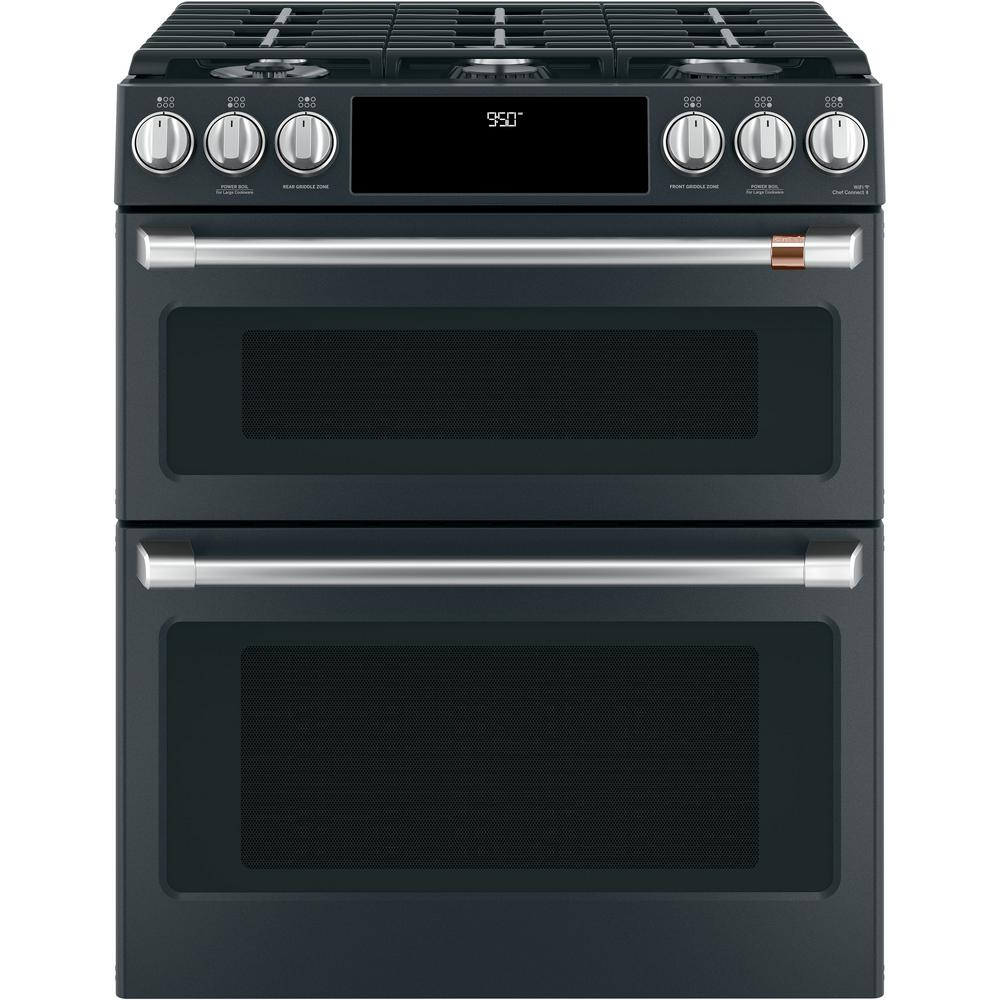 Cafe 30 in. 7.0 cu. ft. Slide-In Double Oven Dual-Fuel Range with Self-Clean Convection in Matte Black, Fingerprint Resistant
