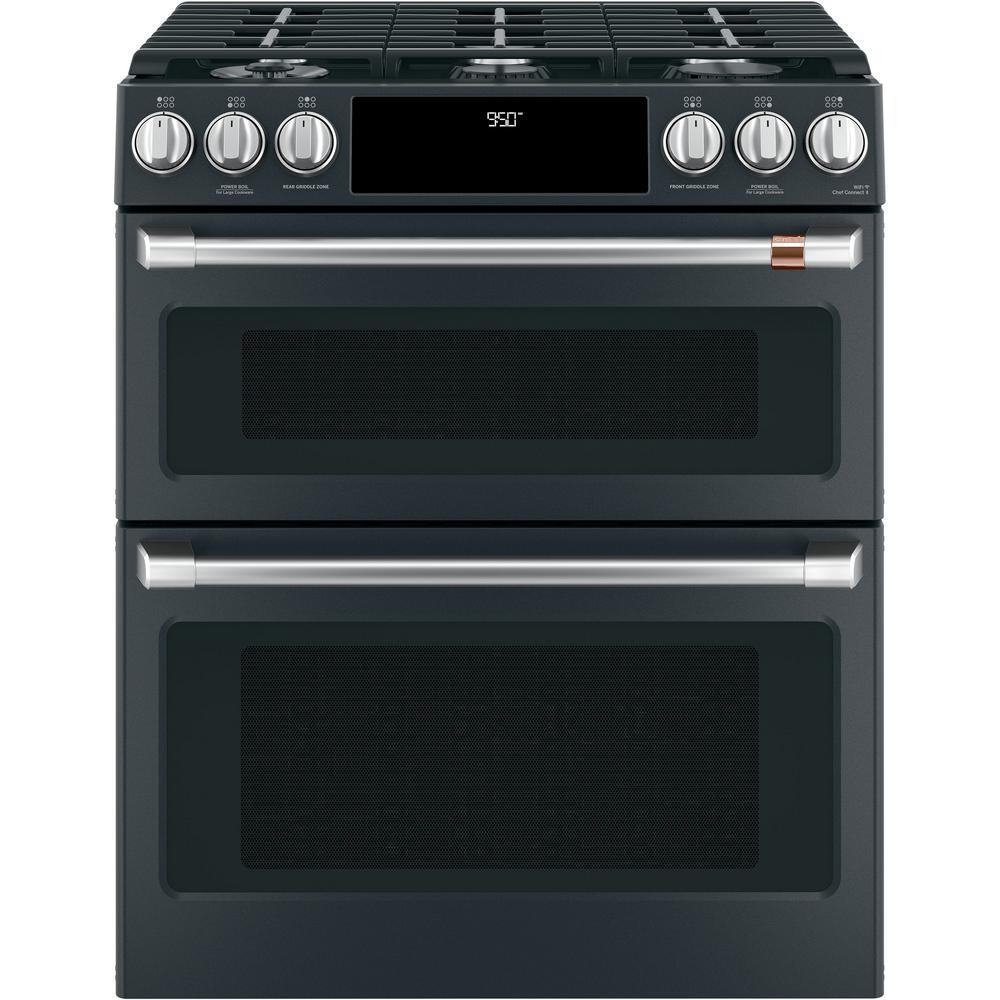 Cafe 30 In 7 0 Cu Ft Slide Double Oven Dual Fuel Range With Self Clean Convection Matte Black Fingerprint Resistant