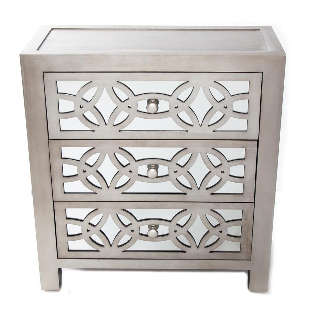 Glam Slam 3-Drawer Silver Cabinet