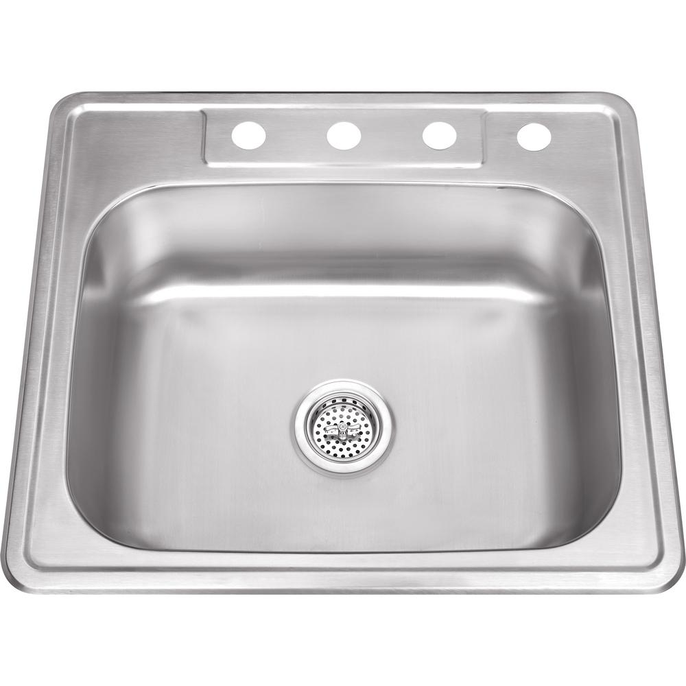 IPT Sink Company Drop-In Stainless Steel 25 in. 4-Hole Single Bowl Kitchen Sink, Brushed Satin was $123.75 now $89.0 (28.0% off)