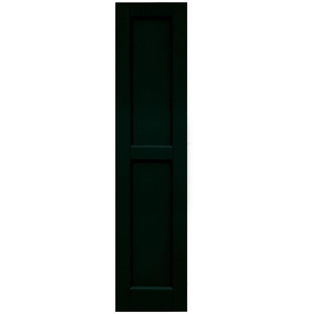 Winworks Wood Composite 12 in. x 52 in. Contemporary Flat Panel Shutters Pair #654 Rookwood Shutter Green