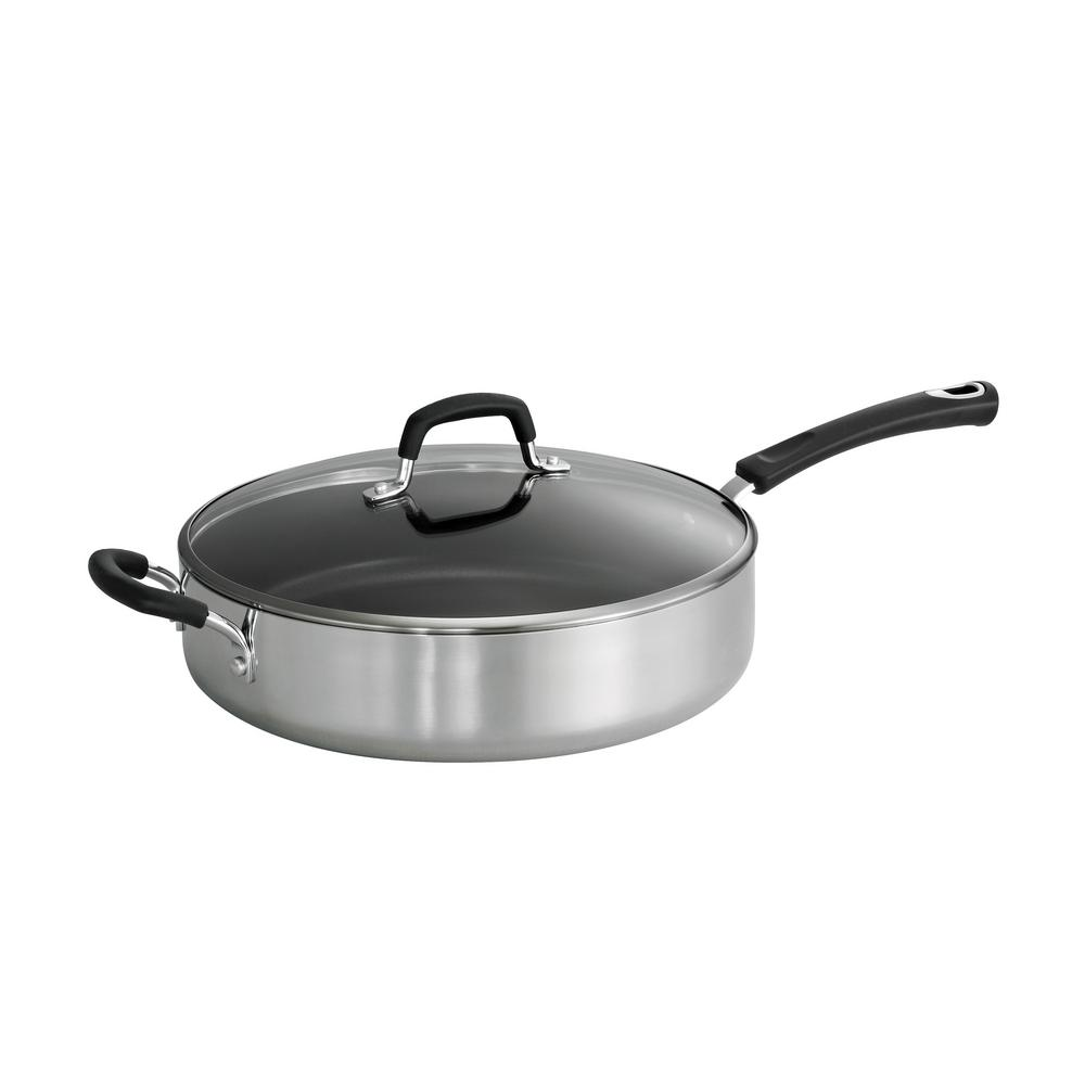 tramontina fry pan tramontina style polished 5 5 qt covered saute pan 80132 2910