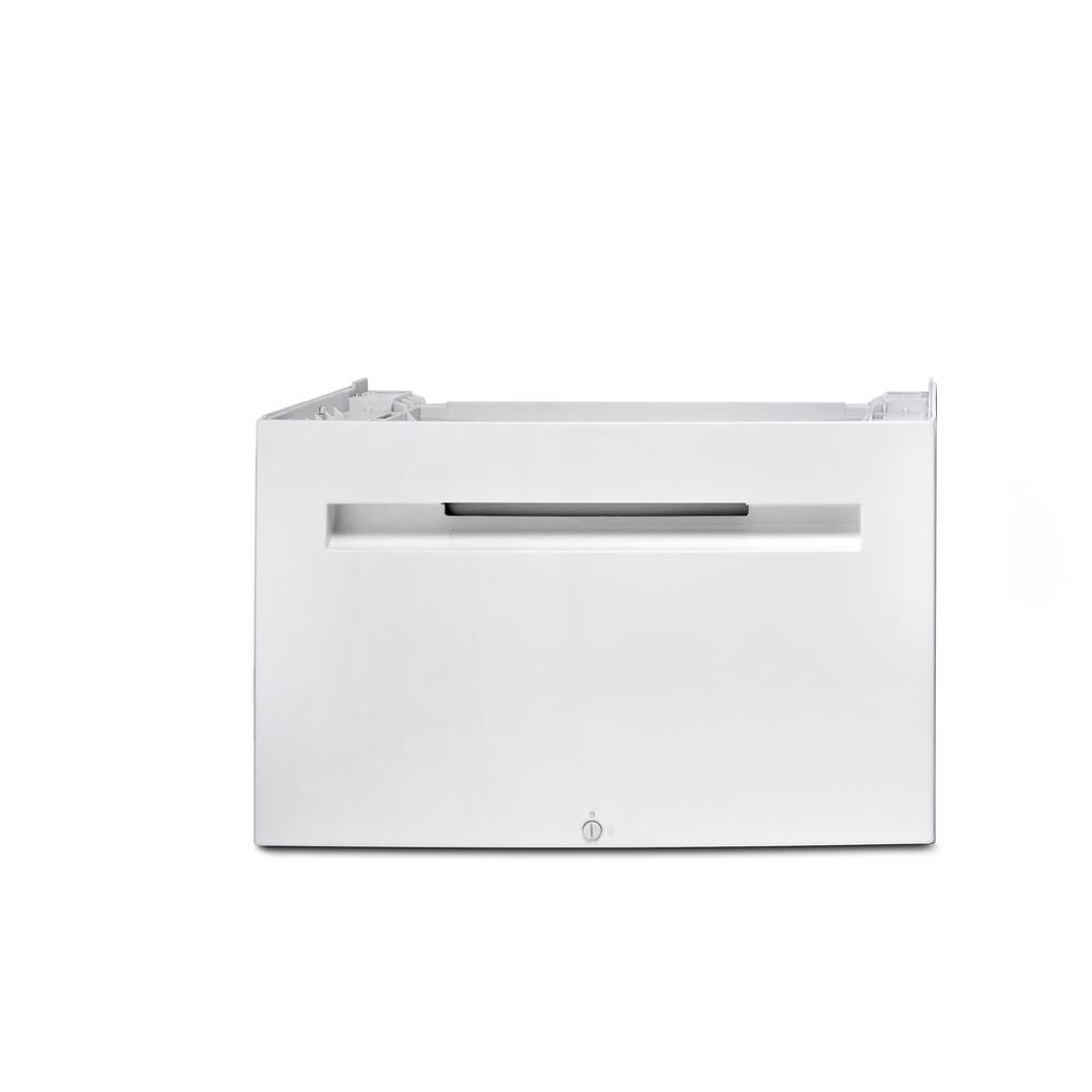 16 in. Laundry Washing Machine-only Pedestal with Storage Drawer in White