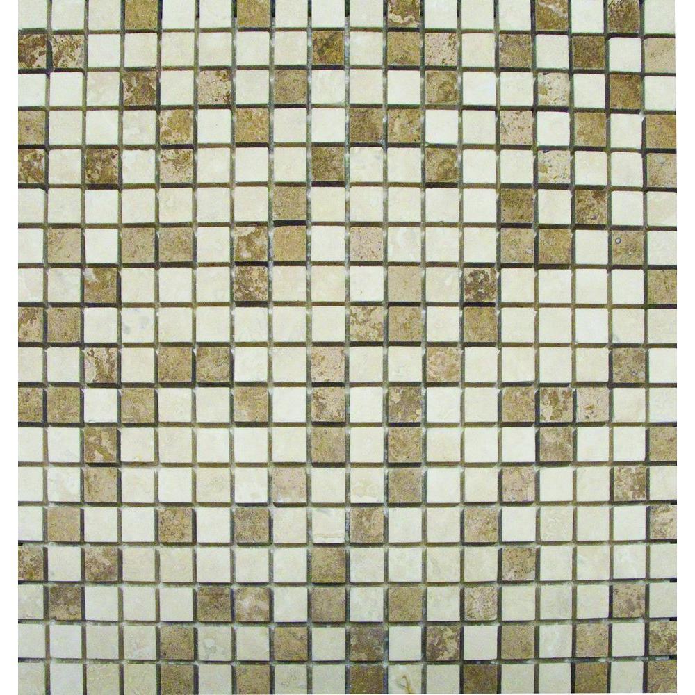 MS International Noche/Chiaro 12 in. x 12 in. x 10 mm Travertine Mesh-Mounted Mosaic Tile