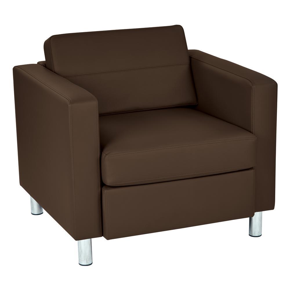 OSP Home Furnishings Pacific Dillon Java Vinyl Fabric Arm Chair PAC51-R102