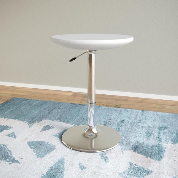 CorLiving Adjustable Height Glossy White Round Bar Table DAW-710-T