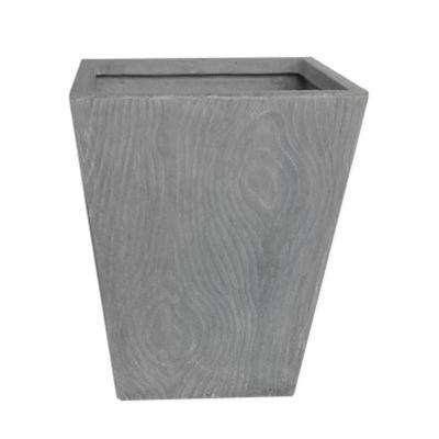 16 in. x 20 in. H Light Grey Wood Grain Tall Square Fiber-Clay Planter