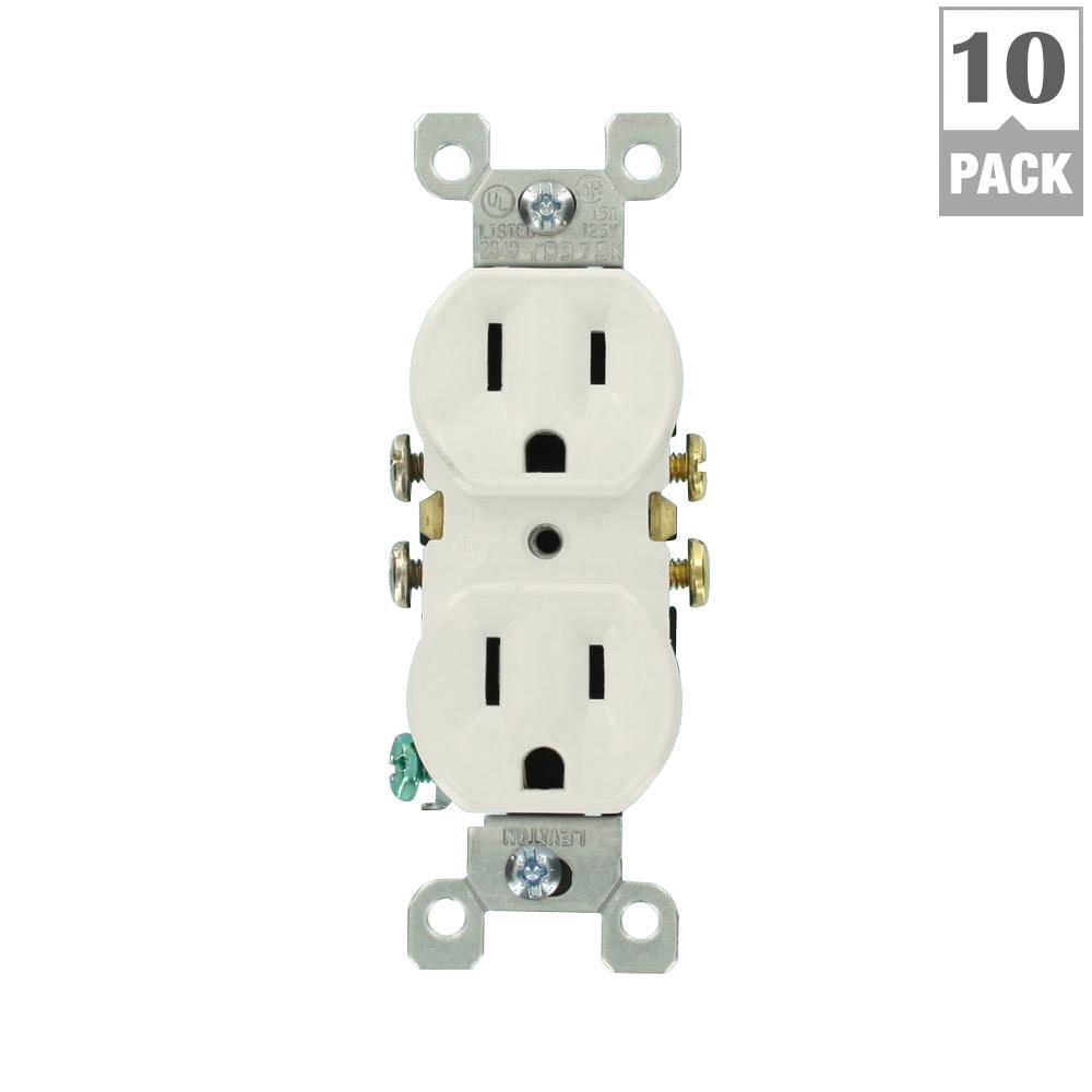 Leviton 15 Amp Duplex Outlet, White (10-Pack) by Leviton