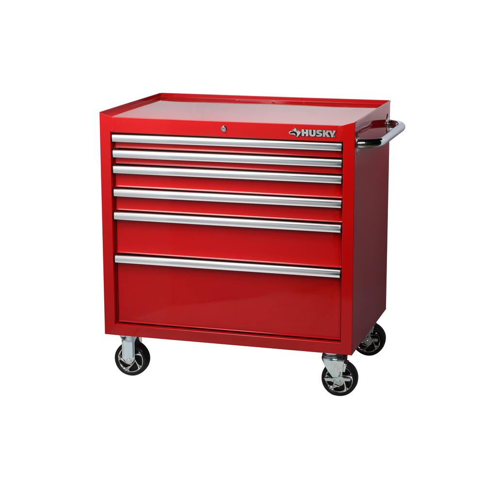 Husky 36 In W X 24 5 In D 6 Drawer Tool Chest Rolling Cabinet In