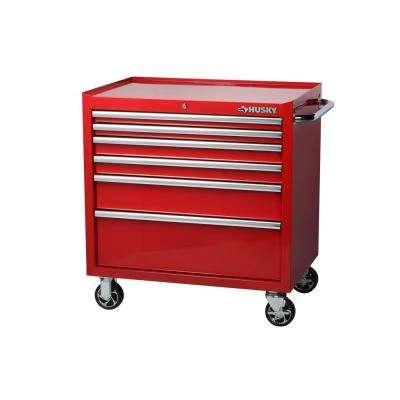 36 in. W 24.5 in. D 6-Drawer Rolling Cabinet Tool Chest in Red