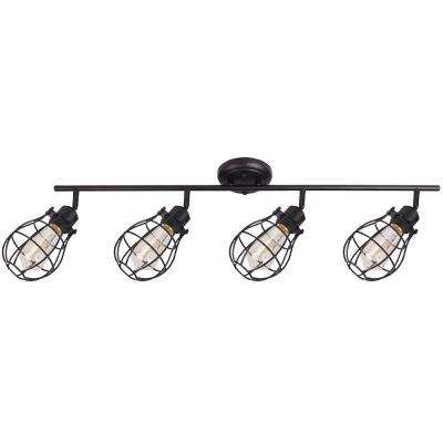 Lancy 4-Lights Matte Black Track Light with Cage Shade