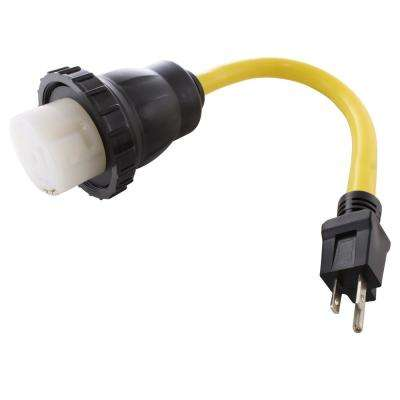 AC Connectors 1.5 ft. 10/3 Household 5-15P 15 Amp Plug to RV/Marine 50 Amp Detachable Inlet Adapter