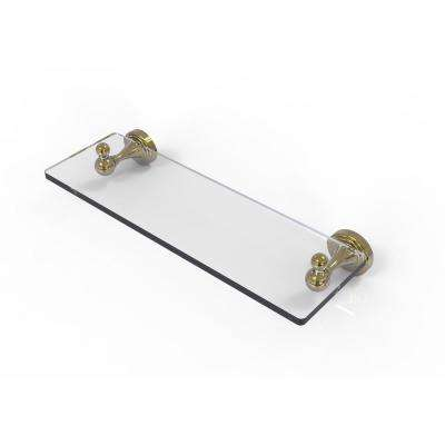 Sag Harbor Collection 16 in. Glass Vanity Shelf with Beveled Edges in Unlacquered Brass