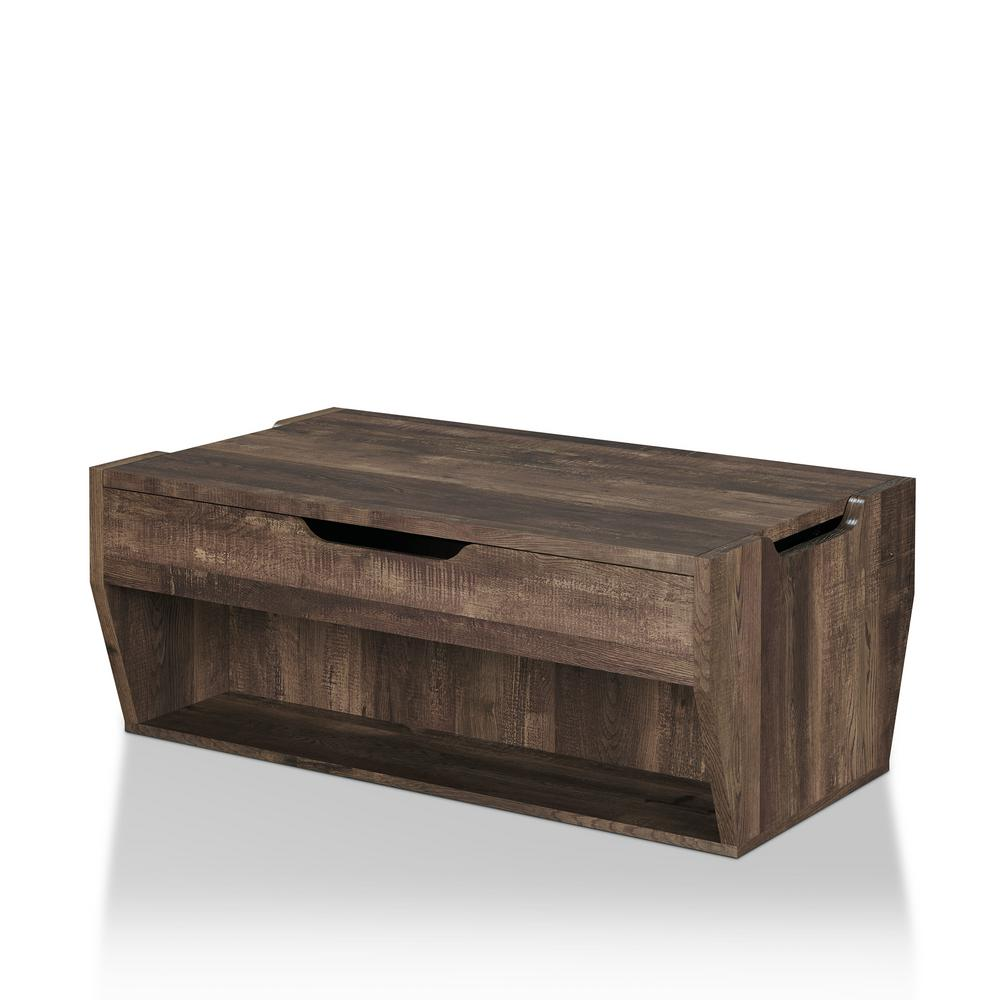 Furniture Of America Anthem Reclaimed Oak Lift Top Coffee Table Ynj