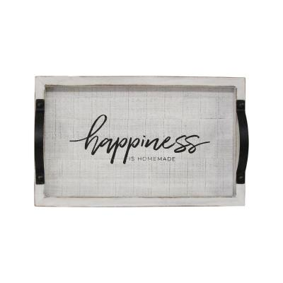 Happiness Brown Wood Tray