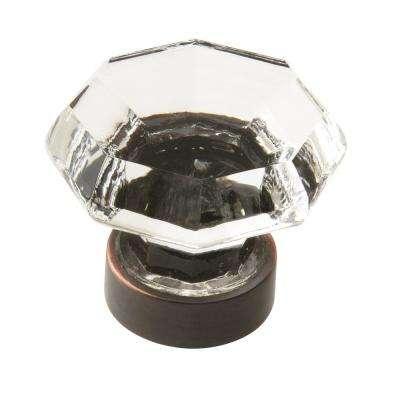 Traditional Classics 1-5/16 in (33 mm) Diameter Clear/Oil-Rubbed Bronze Cabinet Knob
