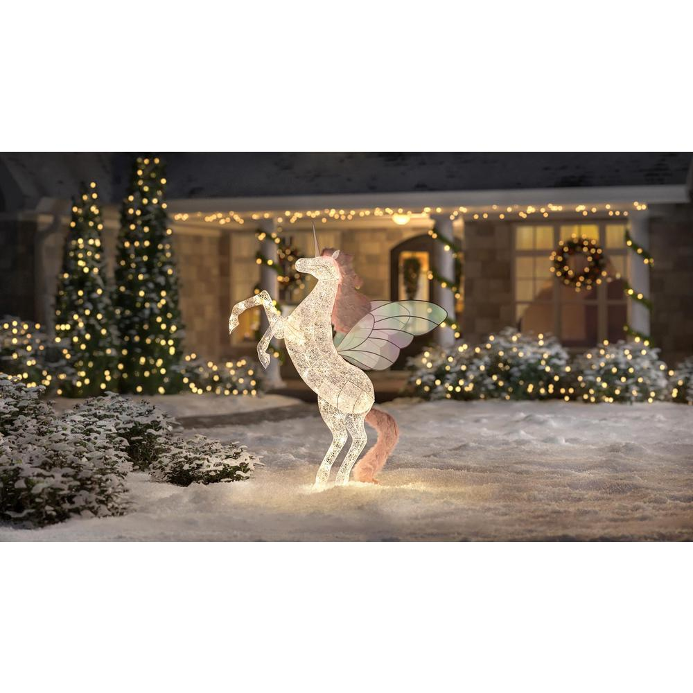 Home Accents Holiday Spirited Sparkle 72 In Life Size Christmas Unicorn Yard Decoration With Led Lights