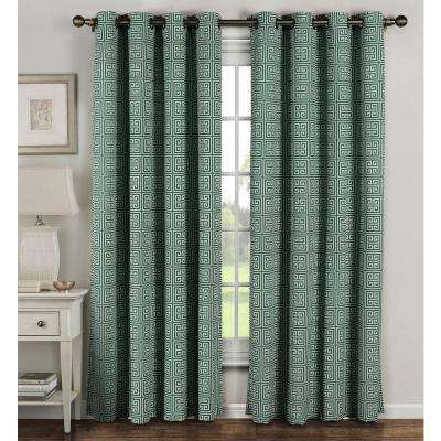 Semi-Opaque Greek Key Cotton Blend Extra Wide 96 in. L Grommet Curtain Panel Pair, Teal (Set of 2)