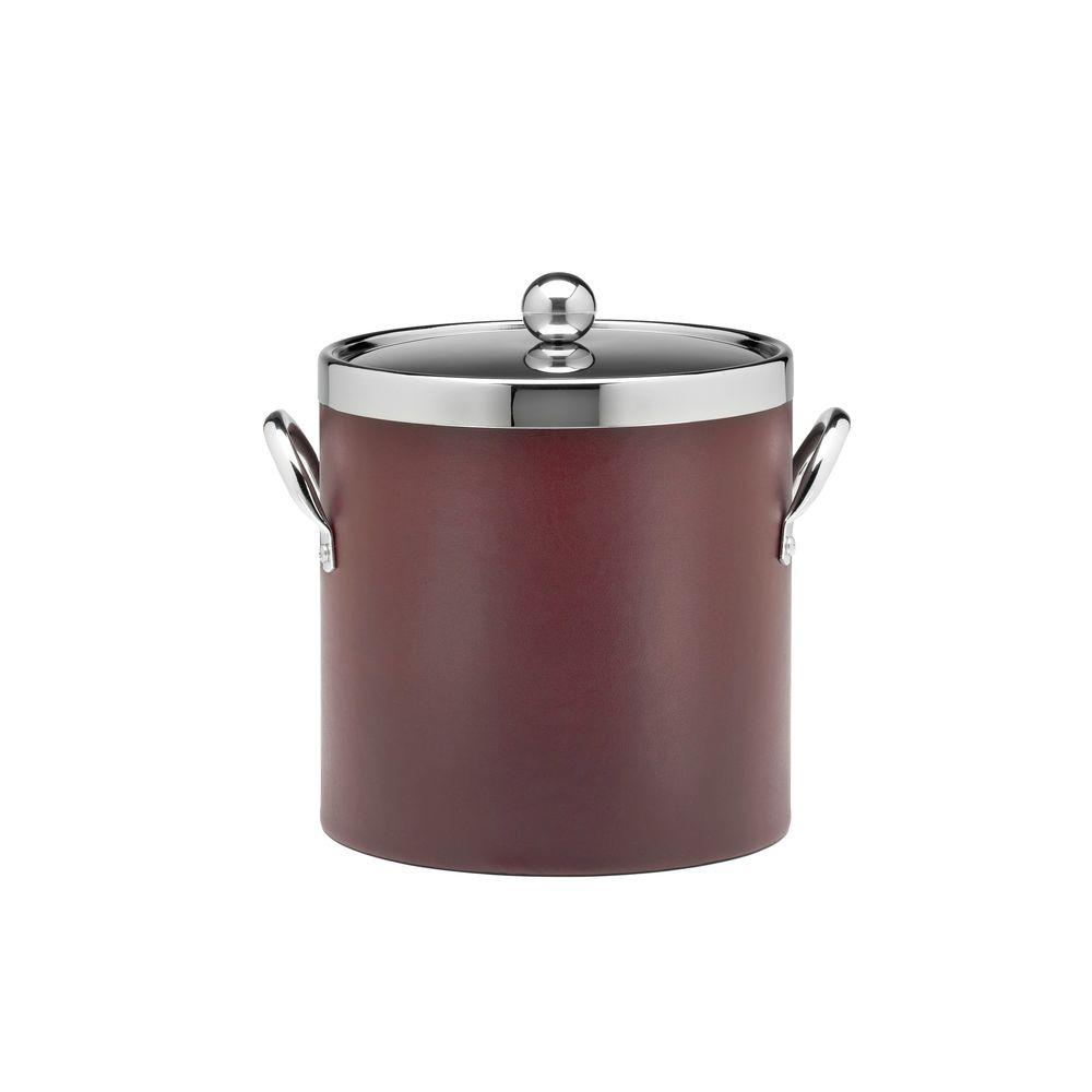 Kraftware SoHo Claret Leatherette 3 Qt. Ice Bucket with Stitched Handles, Leatherette Domed RG Lid and Chrome Side Hardware