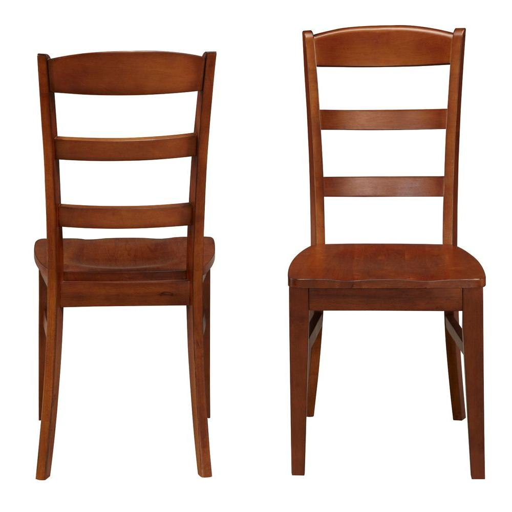 Home Styles Aspen Rustic Cherry Wood Ladder Back Dining Chair Set
