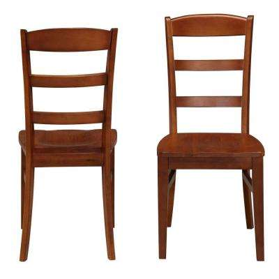 Aspen Rustic Cherry Wood Ladder Back Dining Chair (Set of 2)