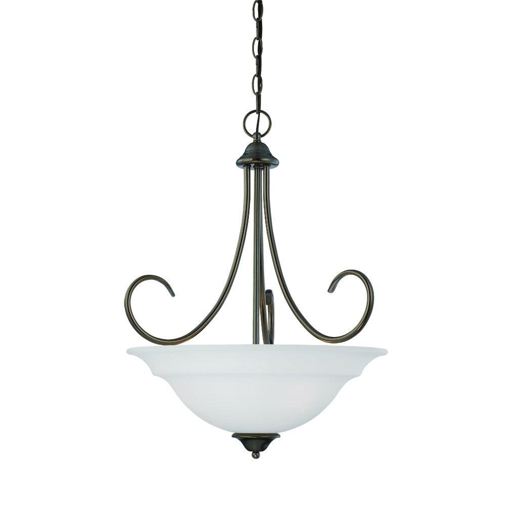 Thomas Lighting Bella 3-Light Oiled Bronze Pendant with Etched Glass Shade