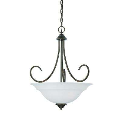 Bella 3-Light Oiled Bronze Pendant with Etched Glass Shade