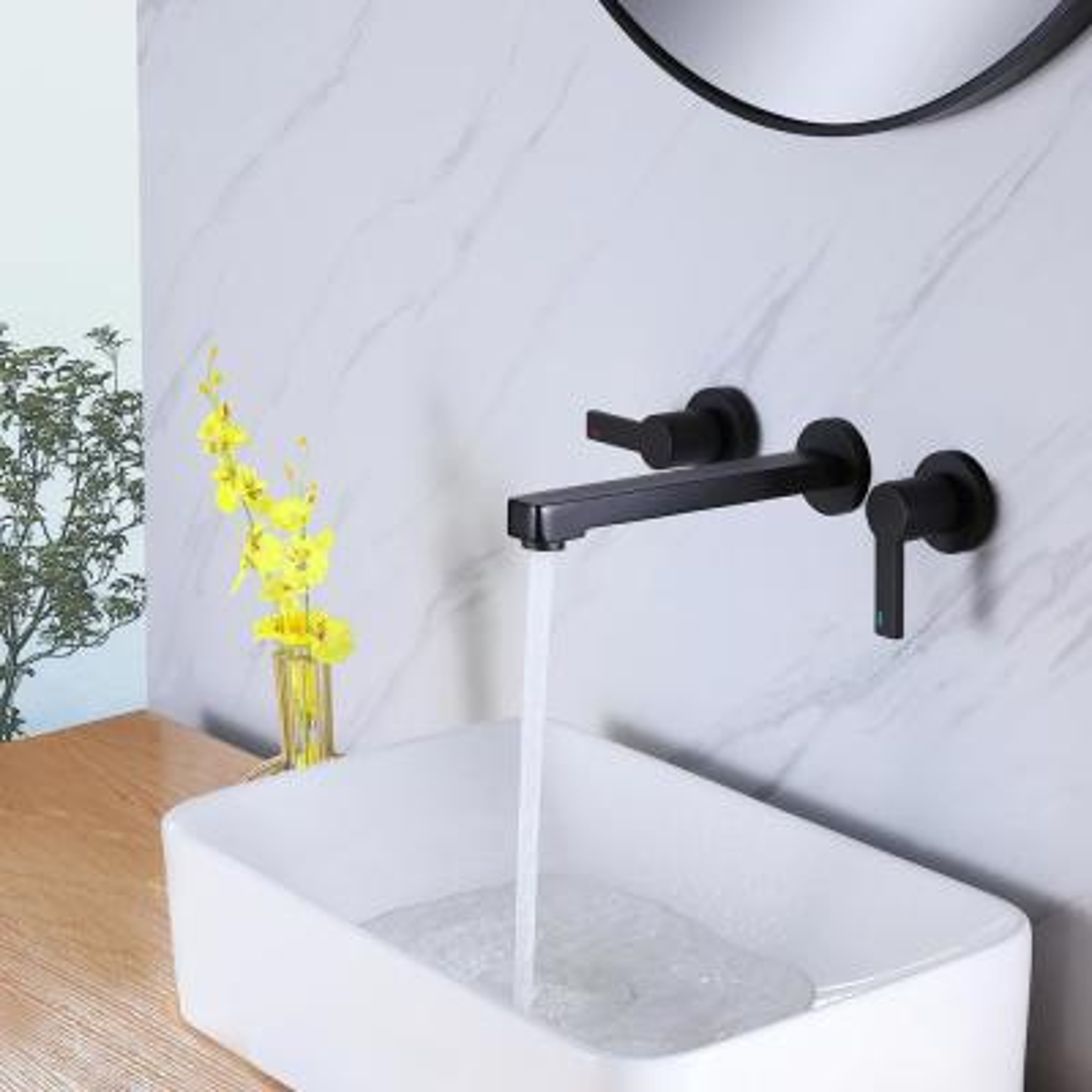 Wall Mount 3 Holes Double Handles Widespread Bathroom Faucet in Matte Black