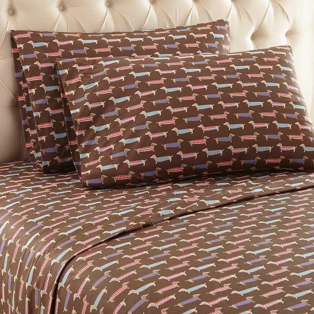 Micro Flannel 4 Piece Best In Show California King Polyester Sheet Set