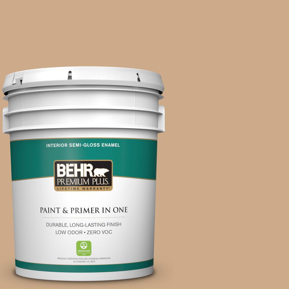 5-gal. #N280-4 Perfect Tan Semi-Gloss Enamel Interior Paint