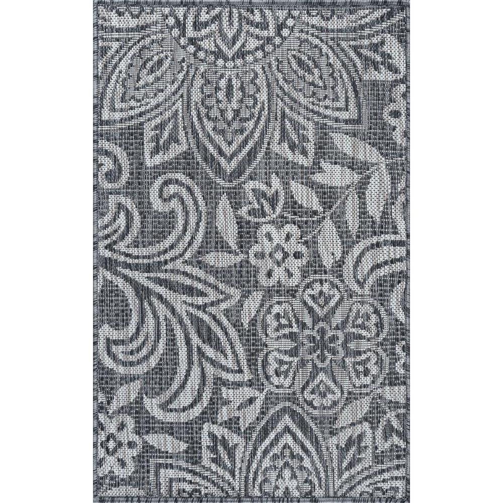 Reviews For Tayse Rugs Veranda Charcoal 2 Ft X 3 Ft Outdoor Accent Rug Vnd2618 2x3 The Home Depot