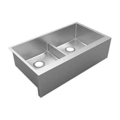 Crosstown 16-Gauge Stainless Steel 35-7/8 in. Equal Double Bowl Tall Farmhouse Apron Kitchen Sink with Aqua Divide
