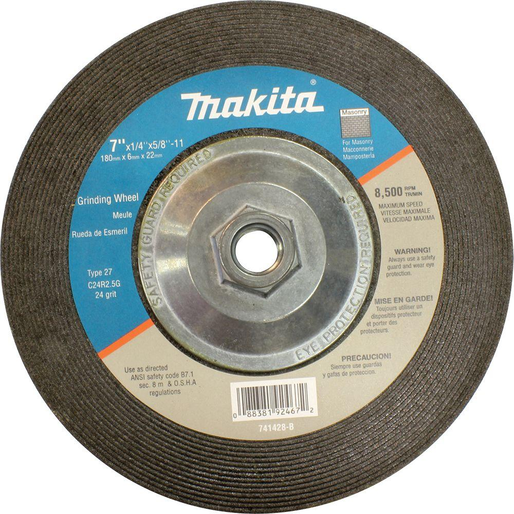 7 in. x 5/8 in. x 1/4 in. 24-Grit Hubbed Grinding