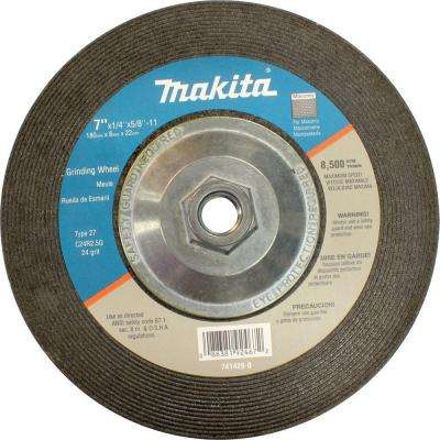 "7 in. x 5/8 in. x 1/4 in. 24-Grit Hubbed Grinding Wheel (10-Pack) for use with 7"" Angle Grinders"