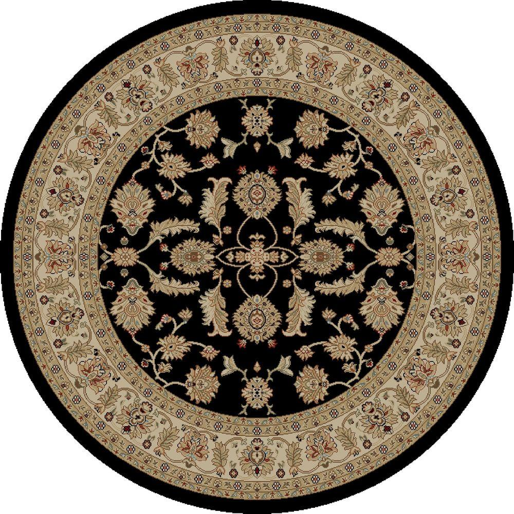 Jewel Antep Black 5 ft. 3 in. Round Area Rug