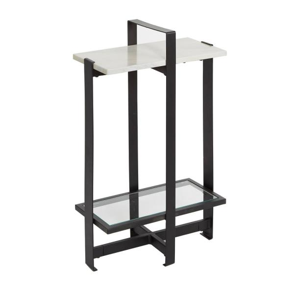 Silverwood Furniture Reimagined Moira Black and Faux Marble Accent Table