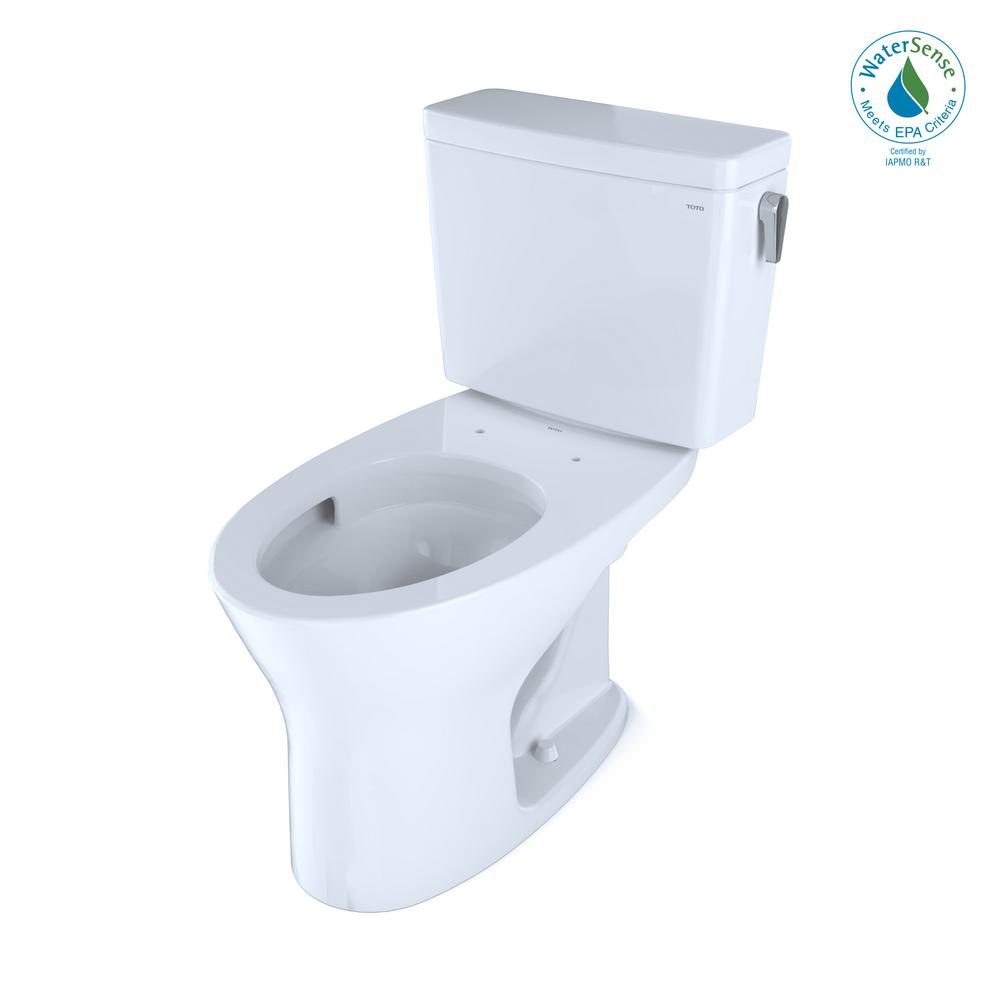 TOTO Drake Two-Piece Elongated Dual Flush 1.28 & 0.8 GPF Toilet for 10In Rough-In with Right-Hand Trip Lever in Cotton White