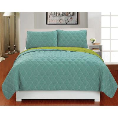 Mia 3 Piece Full/Queen Reversible Coverlet Set in Soft Blue