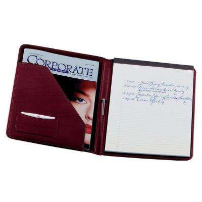 Genuine Leather Executive Writing Portfolio Organizer, Burgundy