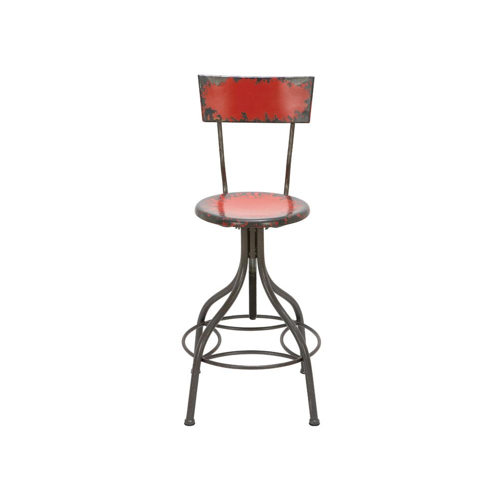 Litton Lane Distressed Gray Iron Round Bar Chair With Chipped Red Painted  Seat And Backrest