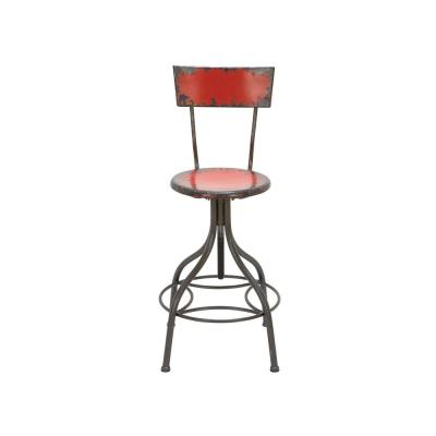Distressed Gray Iron Round Bar Chair with Chipped Red Painted Seat and Backrest