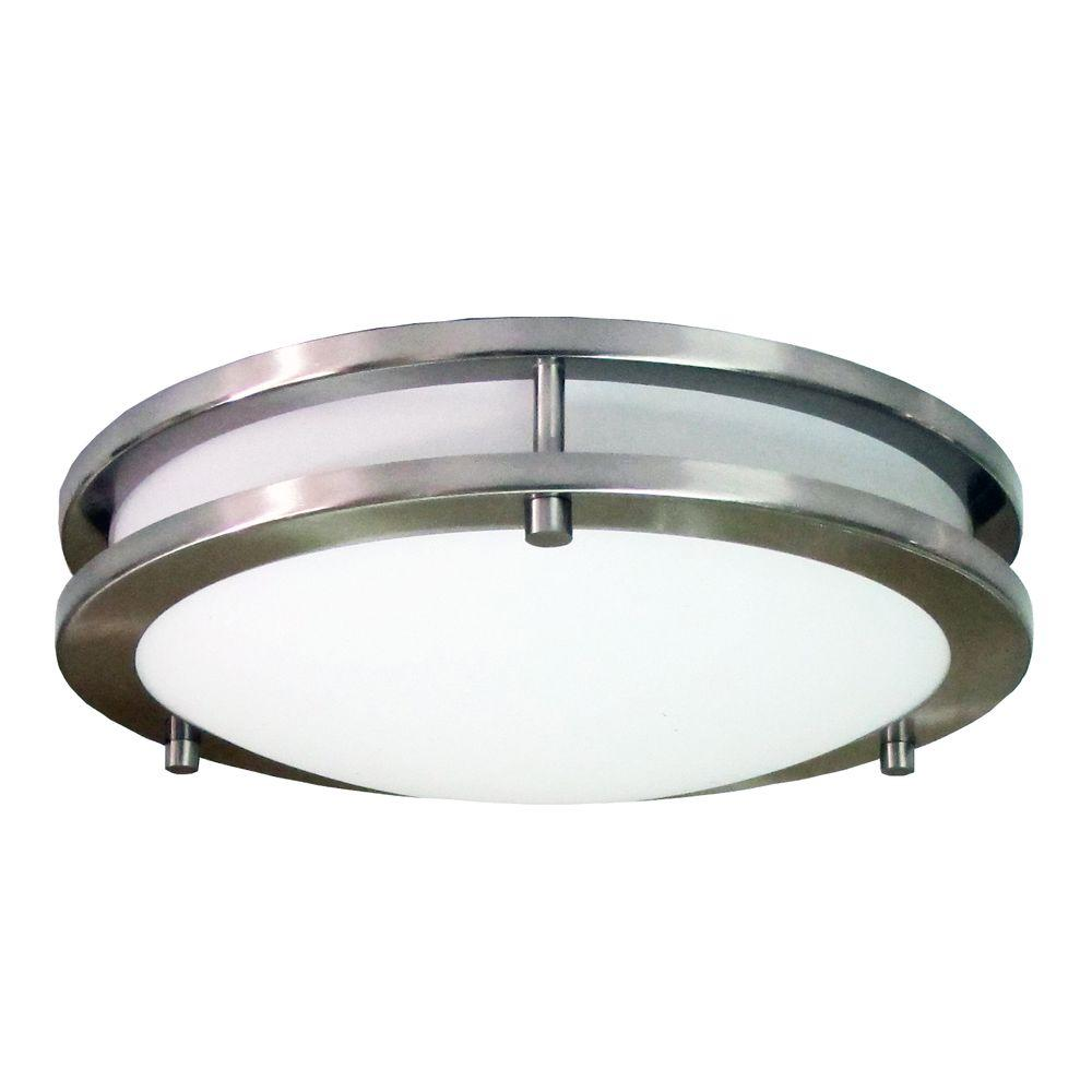 homeselects saturn brushed nickel led flushmount 6500 the home depot