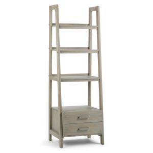 Sawhorse Solid Wood 72 in. x 24 in. Modern Industrial Ladder Shelf with Storage in Distressed Grey