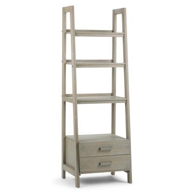 72 in. Distressed Gray Wood 4-shelf Ladder Bookcase