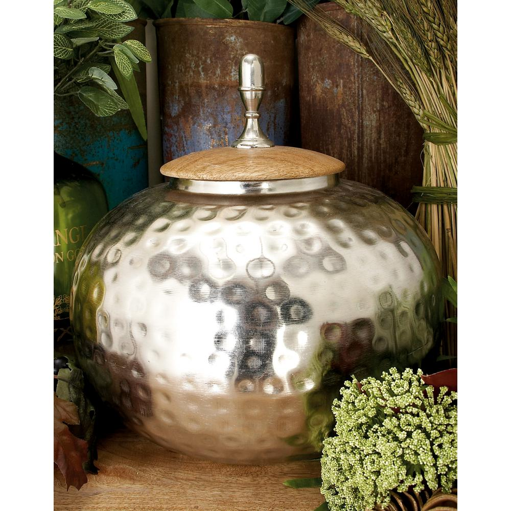 12 in. Silver Iron Urn-Type Squat Round Jar with Circular Oak