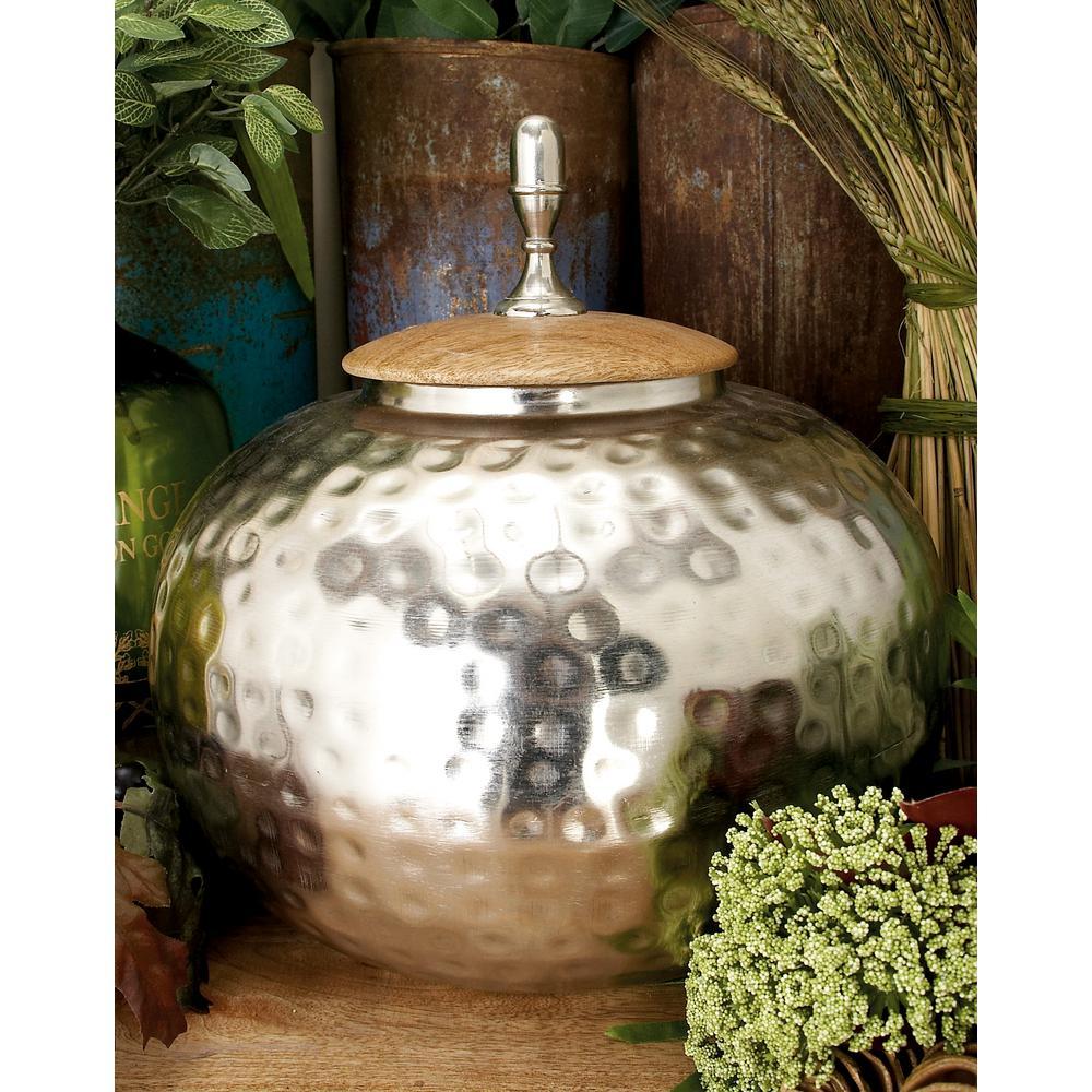 Litton Lane 12 in. Silver Iron Urn-Type Squat Round Jar with