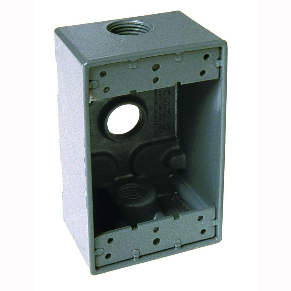 1 gang weatherproof box with three 3 4 in outlets 5324 0 the home depot for Exterior electrical outlet box