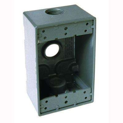 1-Gang Weatherproof Box with Three 3/4 in. Outlets