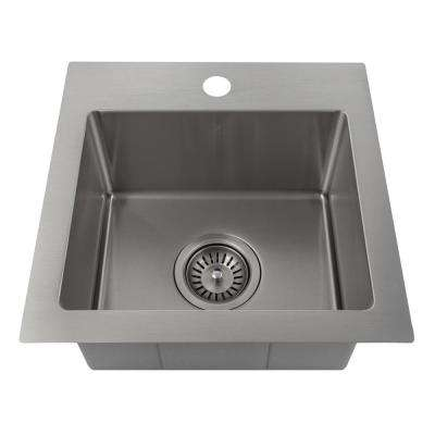Pro Series 15 in. Topmount Single Bowl Bar Kitchen Sink in Stainless Steel