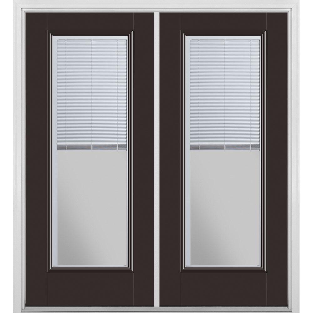 Masonite 72 In X 80 Willow Wood Fibergl Prehung Left Hand Inswing Mini Blind Patio Door With Brickmold